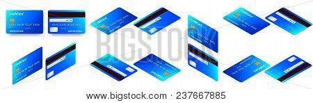 Vector Isometric Set Of Templates Of Credit Cards Design. Plastic Credit Card Or Debit Card