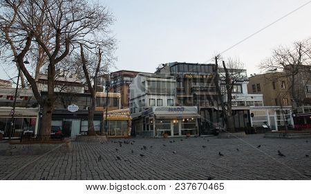 Istanbul, Turkey - March 10, 2018: Cafes And Restauranst In Ortakoy Square.