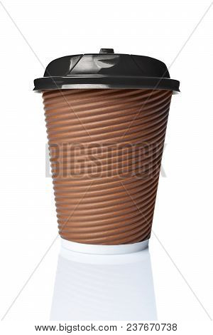 Take-out Blank Craft Paper Coffee Brown Cup With Black Cover