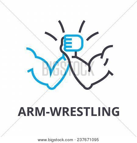 Arm Wrestling Thin Line Icon, Sign, Symbol, Illustation, Linear Concept Vector
