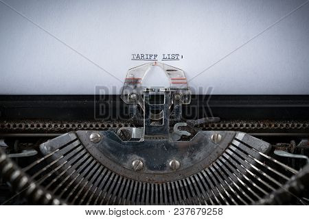 The Phrase Tariff List Typed On An Old Typewriter