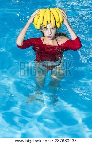 Vitamin In Fruit At Girl Near Water. Vitamin And Healthy Organic Food