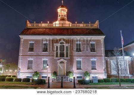 Historic Delaware State House At Night In Dover, Delaware