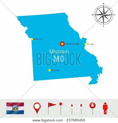 Missouri Vector Map Isolated On White Background. High Detailed Silhouette Of Missouri State. Vector