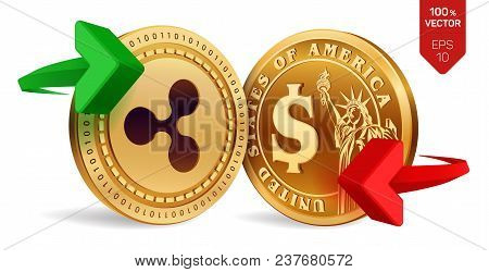 Ripple To Dollar Currency Exchange. Ripple. Dollar Coin. Cryptocurrency. Golden Coins With Ripple An