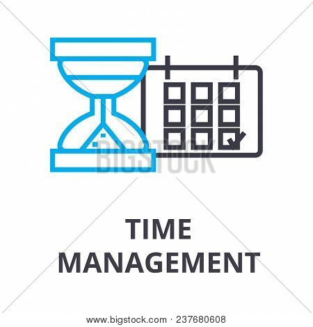 Time Management Thin Line Icon, Sign, Symbol, Illustation, Linear Concept Vector