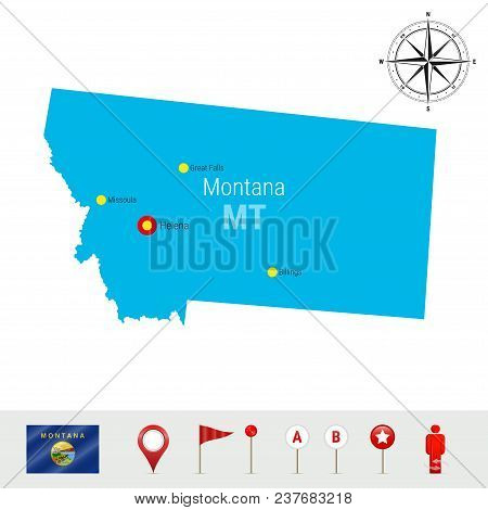 Montana Vector Map Isolated On White Background. High Detailed Silhouette Of Montana State. Vector F