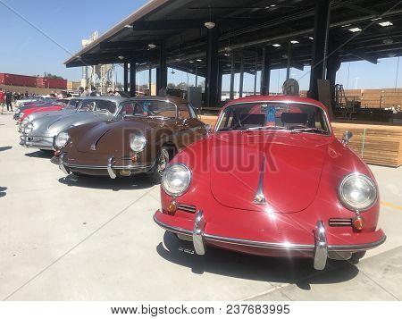 Los Angeles, Ca - April 22, 2018: Porsche Classic Cars At Luftgekuehlt 5 Car Show At Ganahl Lumber.
