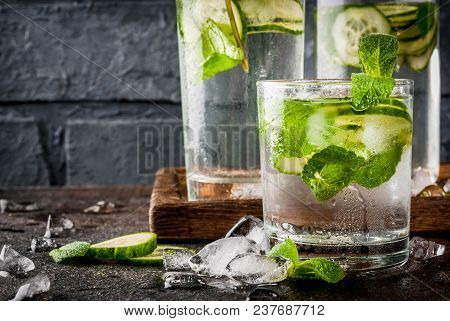 Summer Fresh Iced Drink, Mint And Cucumber Infused Water, Summer Healthy Detox Mojito Cocktail, Ligh