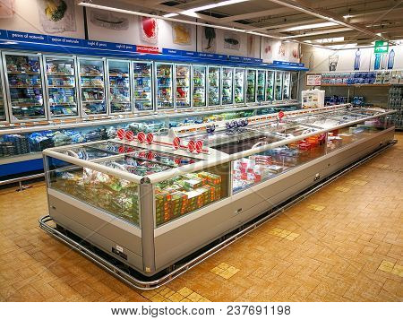 Rome, Italy. April 24, 2018: Frozen Department, Refrigerators And Products In A