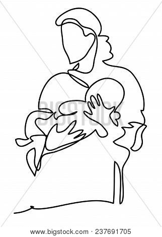 A Mother With A Baby. Family, Motherhood And Lifestyle Concept. Continuous Line Drawing. Isolated On