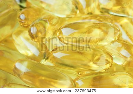 Capsules Of Fish Oil. Omega 3.