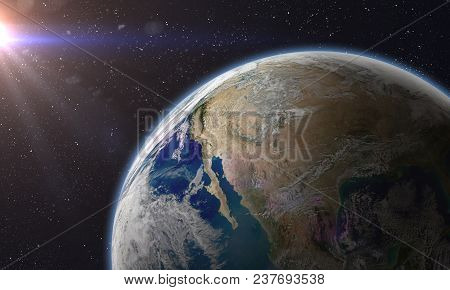 Planet Earth In A Outer Space.