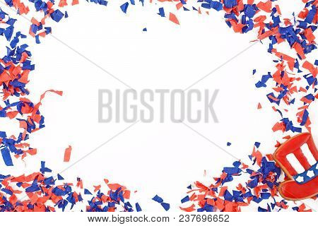 Patriotic Confetti Background Of 4th Of July. Independence Day Concept. Isolated White Background