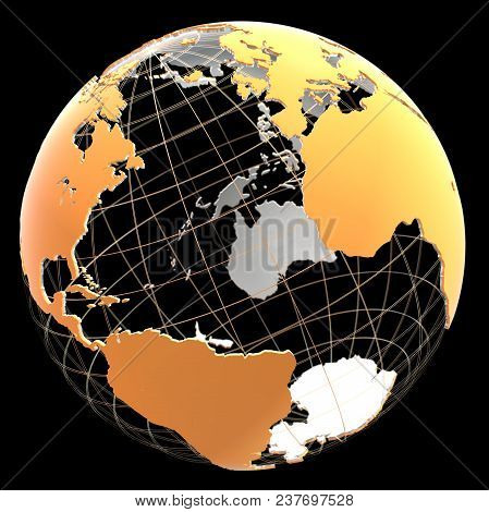 3d Globe With Continents And Meridian Lines. Orange And Metallic Colors. 3d Illustration On A Black