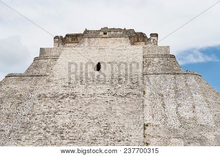 The Ruins Of Pyramid Of The Fortune Teller In Uxmal, One Of The Most Important Archaeological Sites