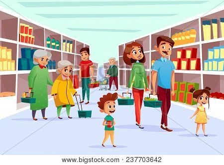 People In Supermarket Vector Illustration. Flat Cartoon Design Of Family Mother, Father And Children