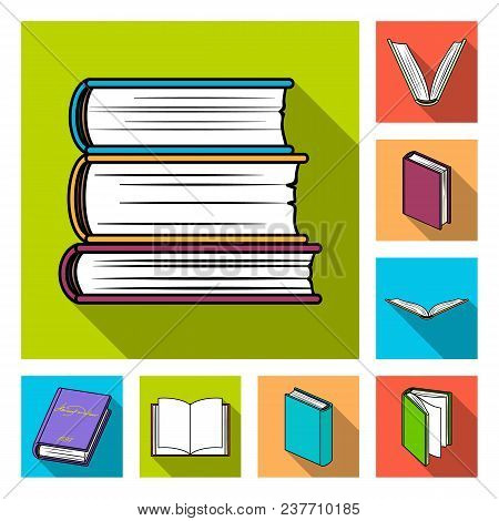 Book Bound Flat Icons In Set Collection For Design. Printed Products Vector Symbol Stock  Illustrati