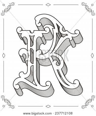 Black On White Vector Illustration Of Capital Letter K
