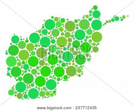 Afghanistan Map Mosaic Of Random Dots In Different Sizes And Eco Green Shades. Vector Spheric Items