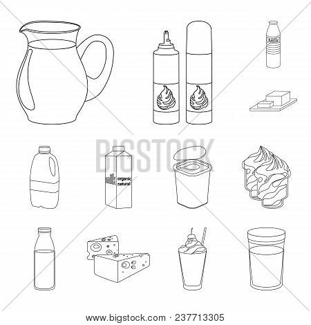 Milk Product Outline Icons In Set Collection For Design.milk And Food Vector Symbol Stock  Illustrat