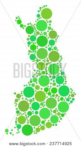Finland Map Collage Of Scattered Circle Elements In Different Sizes And Ecological Green Color Hues.