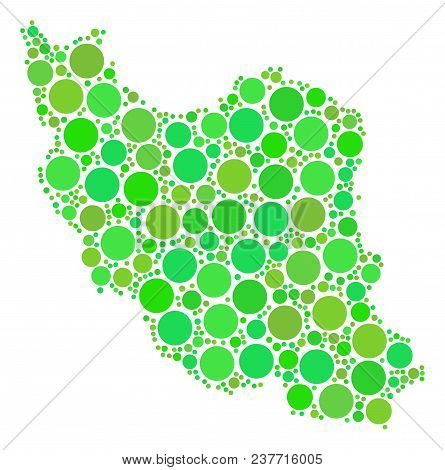 Iran Map Composition Of Randomized Circle Elements In Various Sizes And Green Color Tones. Vector Ro