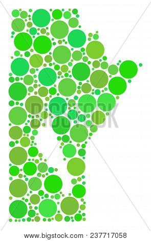 Manitoba Province Map Collage Of Randomized Dots In Variable Sizes And Fresh Green Color Tinges. Vec