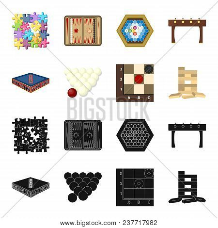 Board Game Black, Cartoon Icons In Set Collection For Design. Game And Entertainment Vector Symbol S