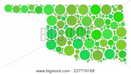 Oklahoma State Map Collage Of Randomized Circle Elements In Variable Sizes And Fresh Green Color Hue
