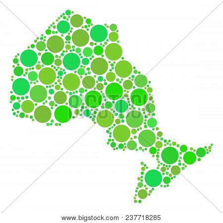 Ontario Province Map Mosaic Of Random Dots In Variable Sizes And Fresh Green Color Tones. Vector Dot