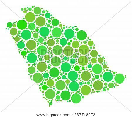 Saudi Arabia Map Mosaic Of Scattered Circle Elements In Various Sizes And Ecological Green Color Tin