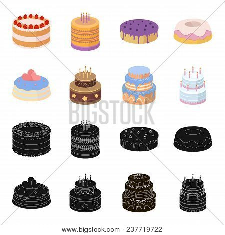 Sweetness, Dessert, Cream, Treacle .cakes Country Set Collection Icons In Black, Cartoon Style Vecto