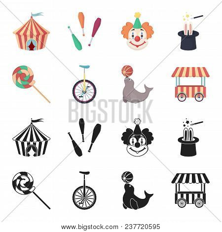 Lollipop, Trained Seal, Snack On Wheels, Monocycle.circus Set Collection Icons In Black, Cartoon Sty