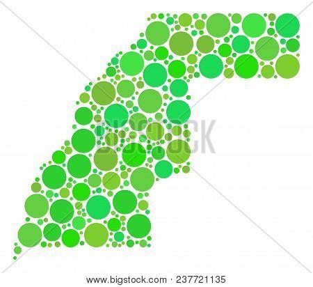 Western Sahara Map Mosaic Of Randomized Circle Elements In Variable Sizes And Fresh Green Shades. Ve
