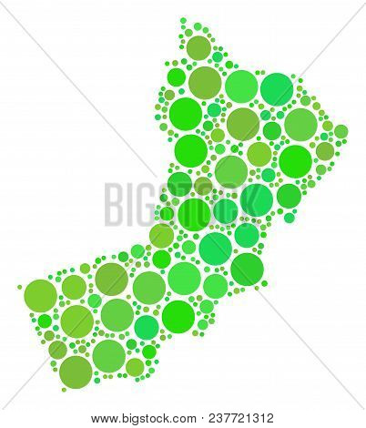 Yemen Map Collage Of Scattered Dots In Different Sizes And Eco Green Color Tones. Vector Round Dots
