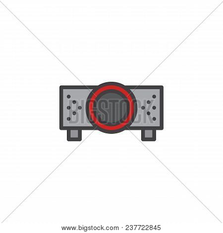 Digital Projector Filled Outline Icon, Line Vector Sign, Linear Bicolor Pictogram Isolated On White.