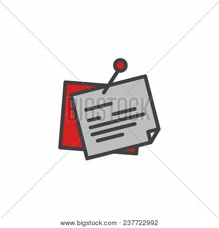 Reminder notes with pin filled outline icon, line vector sign, linear bicolor pictogram isolated on white. Pinned notes paper symbol, logo illustration. Pixel perfect vector graphics poster