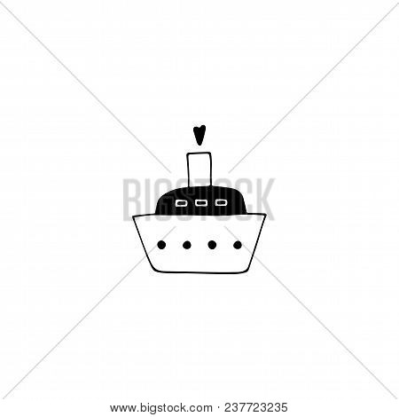 Vector Hand Drawn Object, Cruise Ship. Logo Element, Romantic Clipart. For Travel Company, For Busin