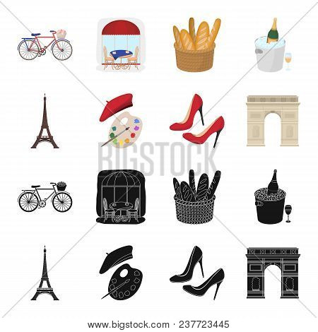 Eiffel Tower, Brush, Hat .france Country Set Collection Icons In Black, Cartoon Style Vector Symbol