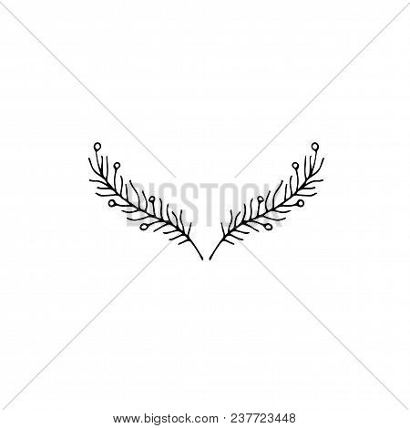 Vector Hand Drawn Object, Branches With Leaves And Berries. Feminine Logo Element, Romantic Floral C