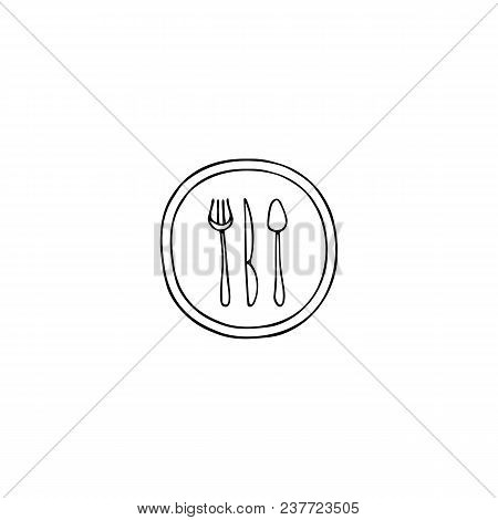 Vector Hand Drawn Object, Plate And Cutlery Silhouettes. Logo Element, Isolated Clipart. For Restaur