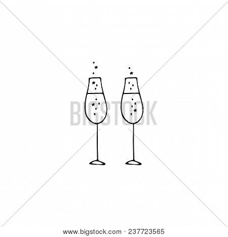 Vector Hand Drawn Objects, Glasses Of Champagne. Feminine Logo Element, Romantic Clipart. For Restau