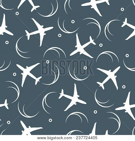 Cute Seamless Pattern With Planes And Traces Of The Plane. Design For Poster Or Print.