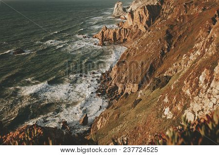Exploring Portugal. Cabo Da Roca Ocean And Mountains View, Authentic Lifestyle Capture, Wanderlust C