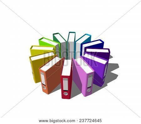 Colorful File Folders.isolated On White Background. 3d Rendering Illustration.circle From File Folde