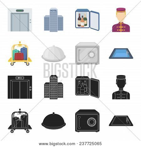 Trolley With Luggage, Safe, Swimming Pool, Clutch.hotel Set Collection Icons In Black, Cartoon Style