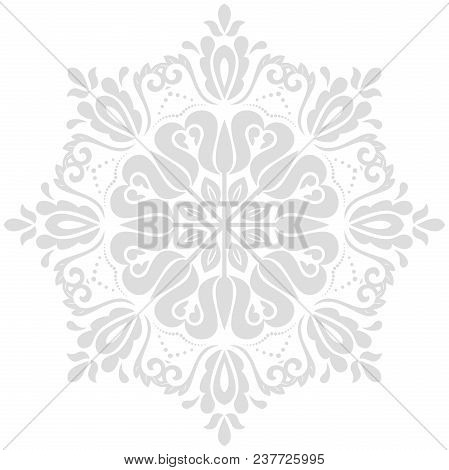 Oriental Vector Pattern With Arabesques And Floral Light Round Elements. Traditional Classic Ornamen