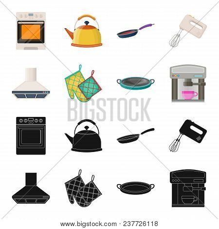 Kitchen Equipment Black, Cartoon Icons In Set Collection For Design. Kitchen And Accessories Vector