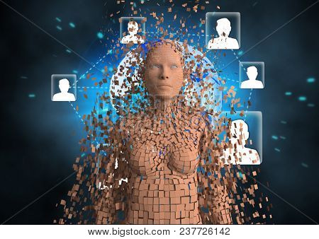 Digital composite of Digitally generated image of 3d human with networking symbols